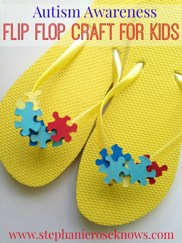 DIY Autism Awareness Flip Flop