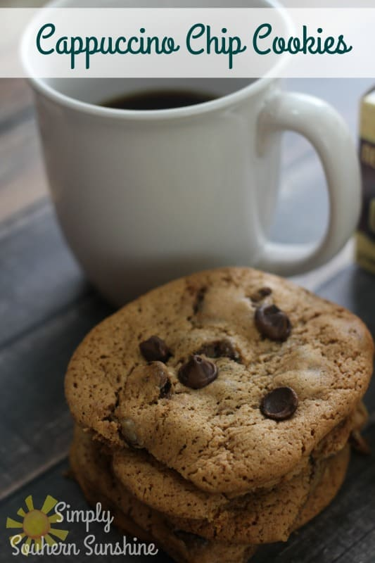 Cappuccino chip cookies and a cup of coffee
